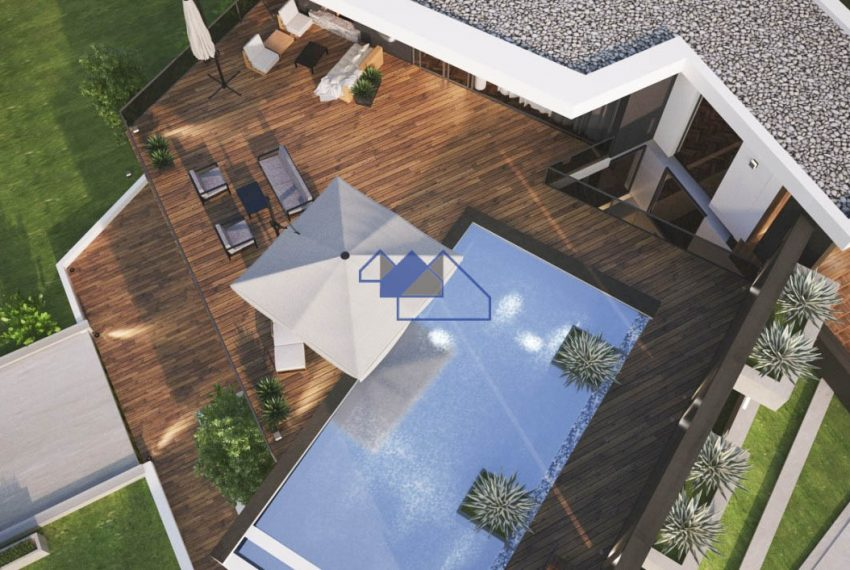 3D Image of the outstanding 4 bedroom villa with seaview overview of pool and deck