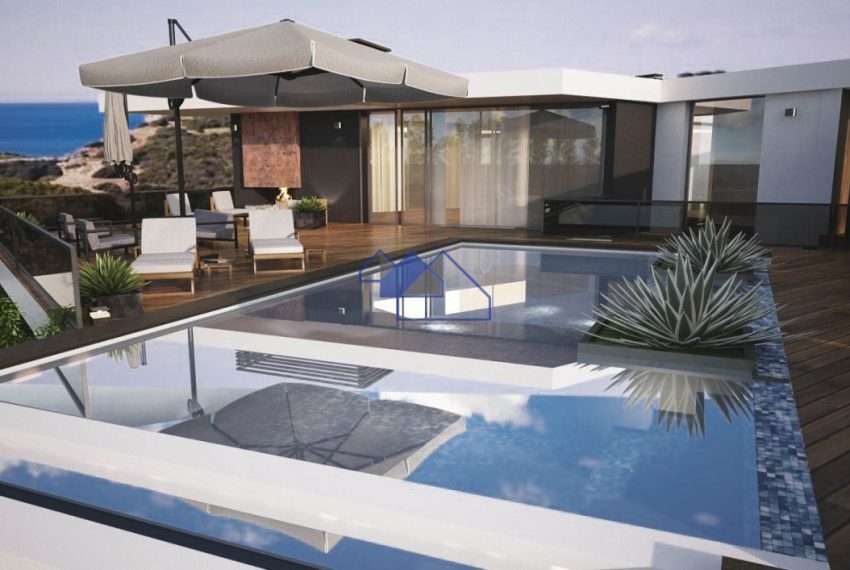 3D Image of the outstanding 4 bedroom villa with seaview -swimming pool and deck